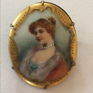 Vintage antique lady brooche handpainted porcelain